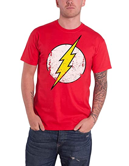 af4c7be5be4 DC Comics The Flash T Shirt Distressed Logo New Official Mens Red  Amazon.ca   Clothing   Accessories
