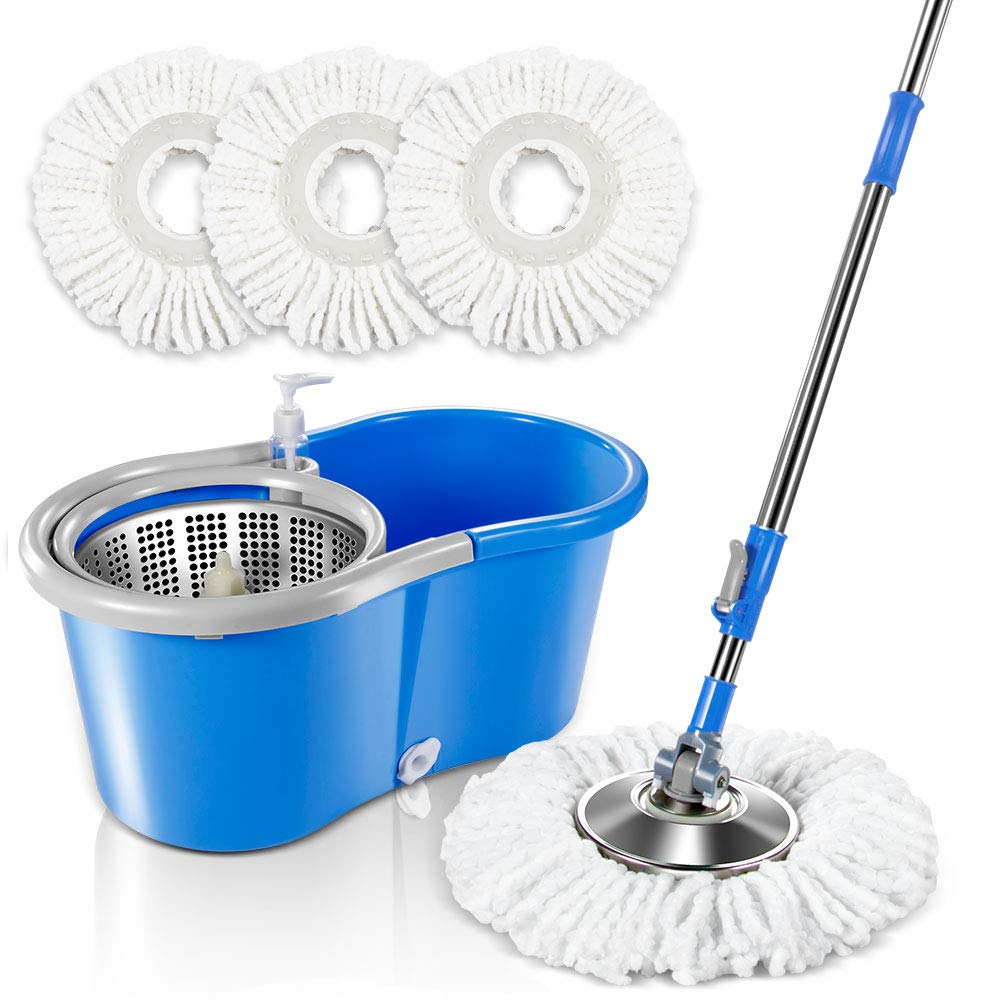 Spin Mop and Bucket System with 3 Microfiber Mop Heads 5L Stainless Steel Mop Bucket with Detergent Dispenser for Floor Cleaning Masthome