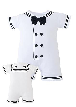 0c033321d Amazon.com: TC Baby Boys Navy Sailor Nautical White Romper Outfit ...