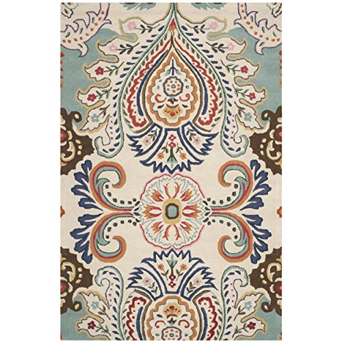 Safavieh Bella Collection BEL118A Handmade Ivory and Blue Premium Wool Area Rug (6′ x 9′)