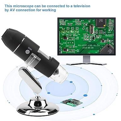 professionelles digitales Handmikroskop mit einstellbarem AV-Ausgangsmikroskop 1000-faches Vergr/ö/ßerungsmikroskop mit 8 LED-Leuchten zur Beobachtung von Insekten//Pelzen//Druckarbeiten EU-STECKER