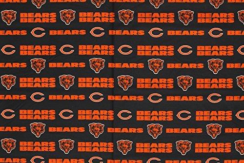 Chicago Bears Fabric - Chicago Bears Football Black Sheeting Fabric