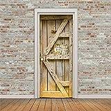 Nalichy Vinatge Retro Wood Door Wall Stickers Murals Decal, Rustic Wood Self-adhesive Waterproof Wallpaper Home Decor