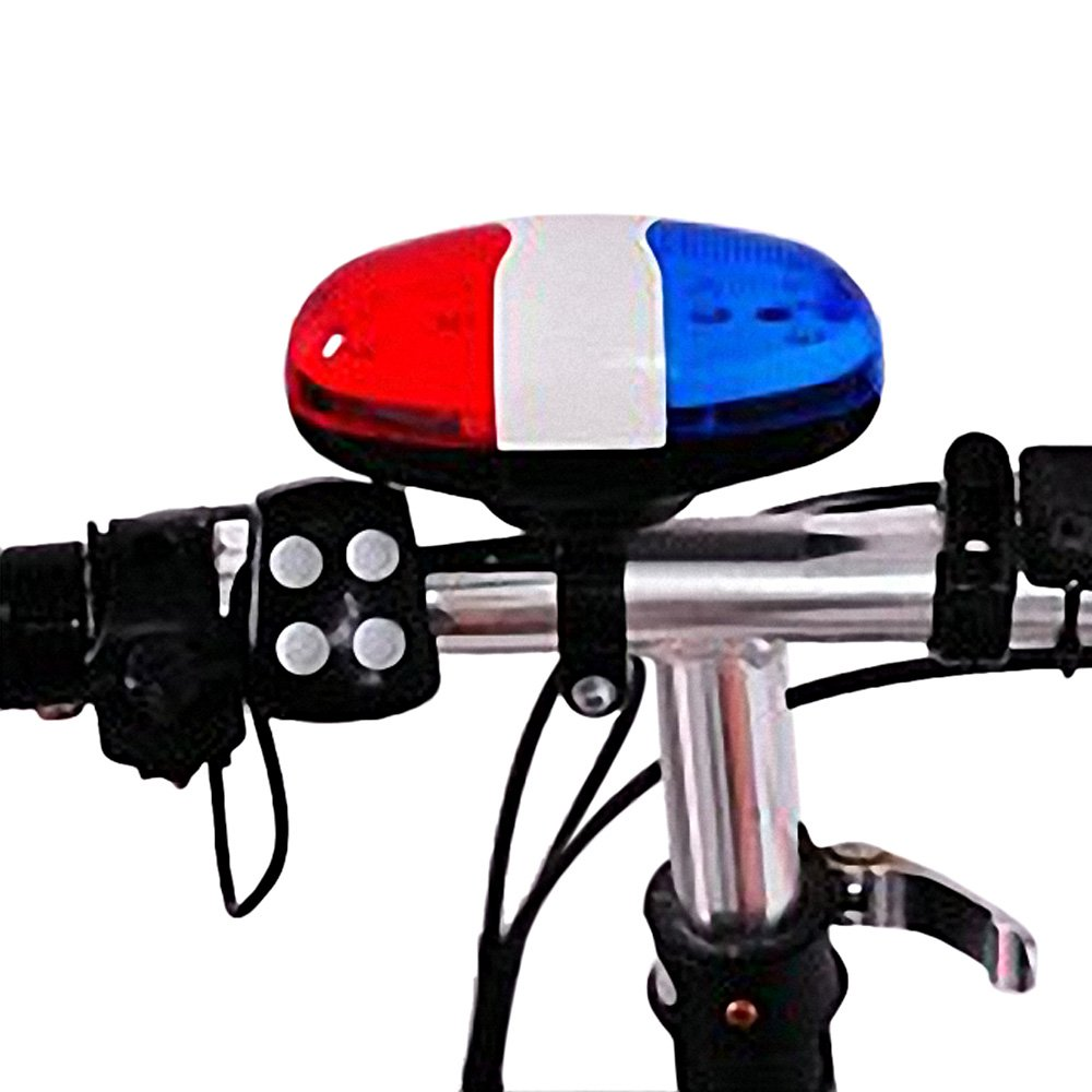 Aselling 6 LED 4 Tone Sounds Bike Bicycle Horn Bell Police Car Light and Electronic Horn Siren EJMUSIC