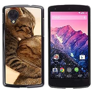 TopCaseStore / la caja del caucho duro de la cubierta de protección de la piel - Cute Baby Kitten Cat Mother Furry - LG Google Nexus 5 D820 D821