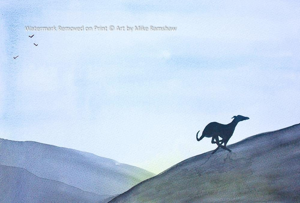 Greyhound Whippet Lurcher art print painting poster gift gifts Mounting Options