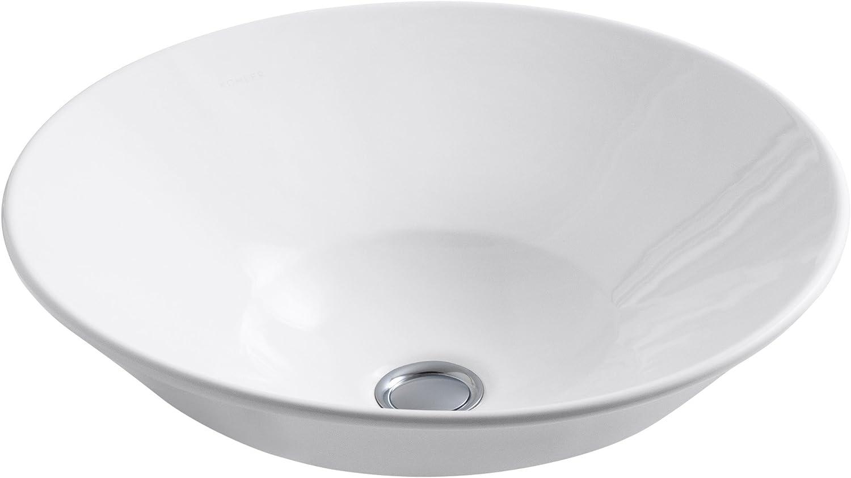 Kohler 2200-G-0 Vitreous china Wall Mounted Round Bathroom Sink, 16.25 x 16.25 x 6.38 inches, White
