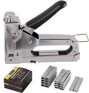 eZthings Staple Gun Professional Stapler Tool Set - 3 in 1 Heavy Duty kit with 2400 Staples, Nail Steel for Wood Work, Upholstery, Decoration, Carpentry, Furniture, Walls, Roofing (Stapler Gun Kit)