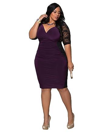 47db3c14dc1 Kiyonna Women s Plus Size Valentina Illusion Dress 5X Black Purple Passion