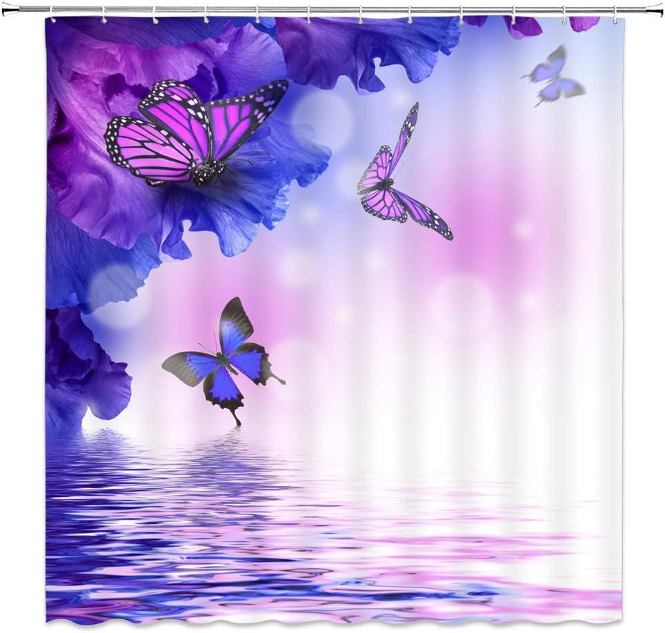 100/% Polyester Bathroom Shower Curtain Bath Mat Rug Purple Flower Butterfly 1916