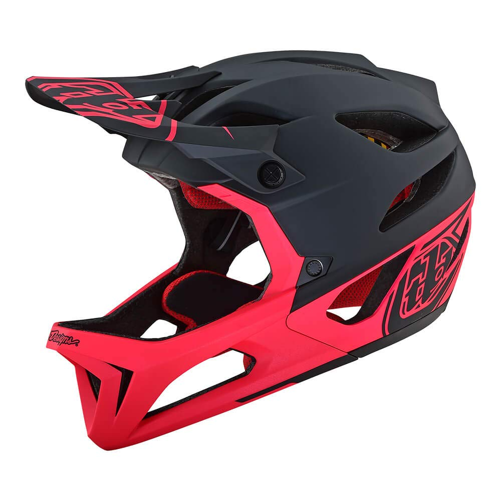 Troy Lee Designs Adult Full Face | Enduro | Downhill | Trail | Mountain Biking Stage Stealth Helmet with MIPS (X-Small/Small, Black/Pink)
