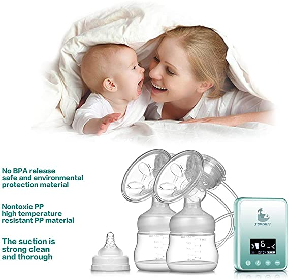 Breast Pump,Phiraggit Dual Suction Electric Breastfeeding Pump Breast Massage with Full Touchscreen LED Display with 10 Pcs Breastmilk Storage Bags
