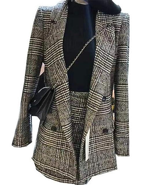 Amazon.com: MU2M - Falda para mujer de Houndstooth, 2 piezas ...