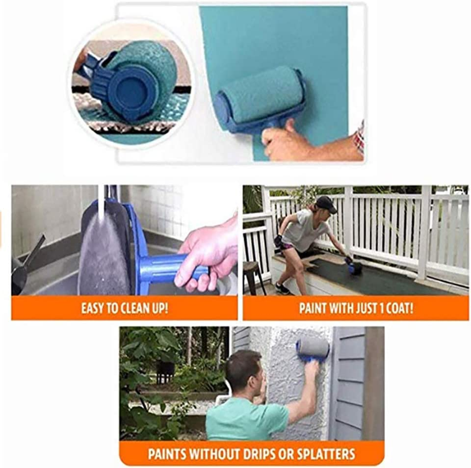 6pcs Blue Wall Printing Brush Smart Paint Roller Applicator for Painting Walls and Ceilings for Home Office Room Paint Roller Brush Tools Set Wall Printing Brush kit with Paint Runner Pro