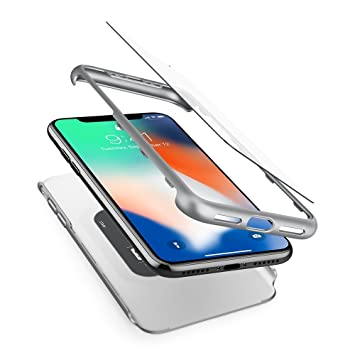newest 1fe77 71c8a Spigen Thin Fit 360 iPhone XS Case iPhone X Case Cover with Exact Slim Full  Protection and Tempered Glass Screen Protector for iPhone XS (2018) iPhone  ...