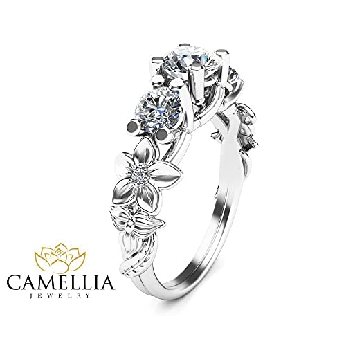 Amazon 3 stone moissanite engagement ring in 14k white gold 3 stone moissanite engagement ring in 14k white gold flower leaf design ring nature inspired mightylinksfo