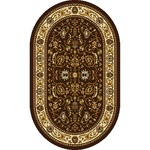 home dynamix hd998511 royalty collection oval area rugs 31 by 50inch brownivory - Oval Area Rugs