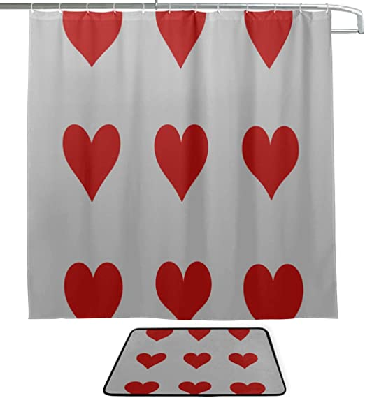 "72X72/"" Red Window Curtains Shape Shower Curtain Waterproof Fabric Bath Mat Rug"
