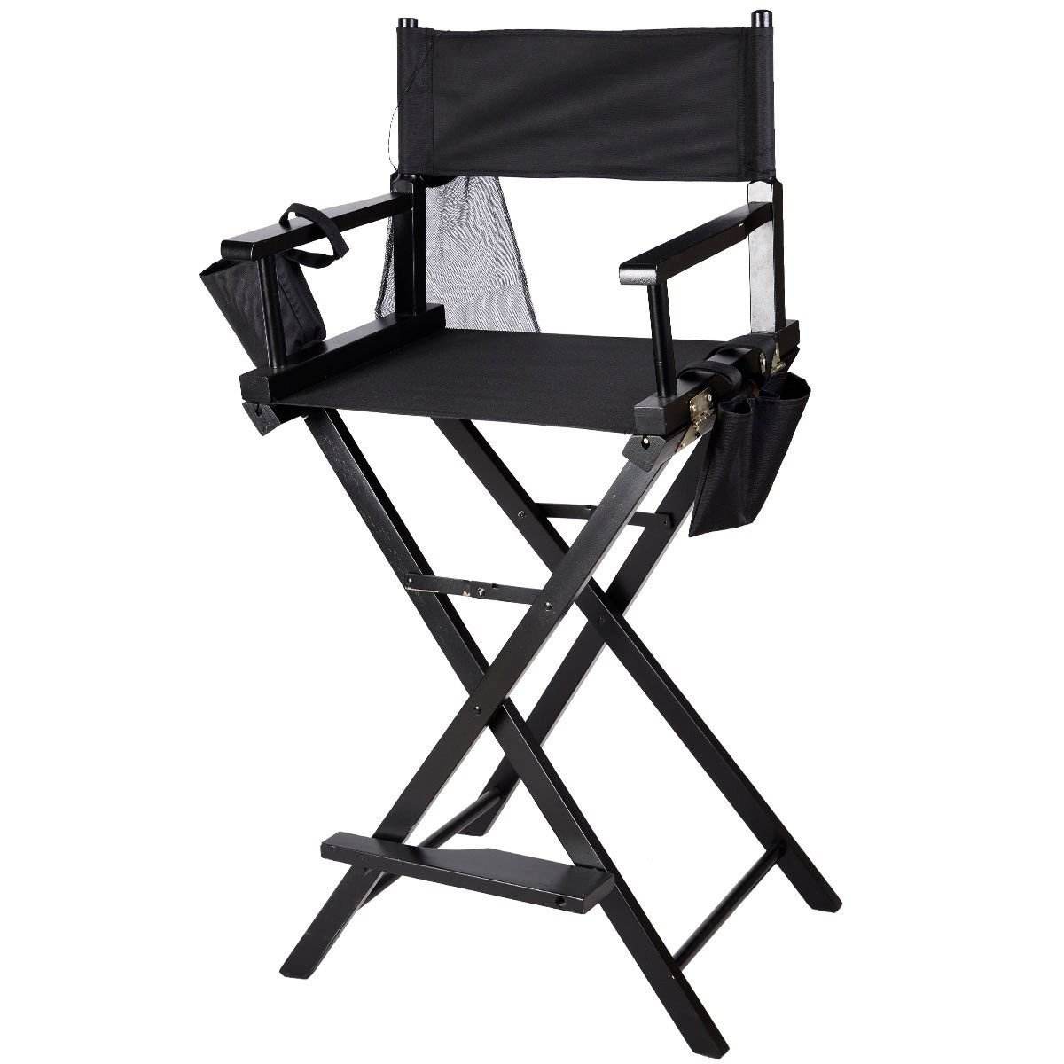 Professional Makeup Artist Directors Wood Foldable Chair Light Weight Black by JDM Auto Lights