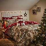 Catherine Lansfield Christmas Garland Duvet Set - Red/Natural, King
