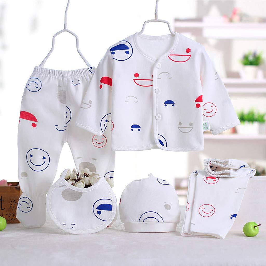 Sikye 5Pcs Newborn Baby Gift Outfit Set Newborn Girl Boy Cartoon Lovely Button Top Bib Hat 2PC Pants 0-3 Months