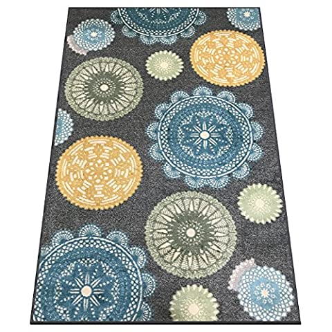 Silk & Sultans Agathe Collection Contemporary Medallion Design, Pet Friendly, Non-Slip Area Rug with Rubber (Yellow Grey Blue Area Rug)