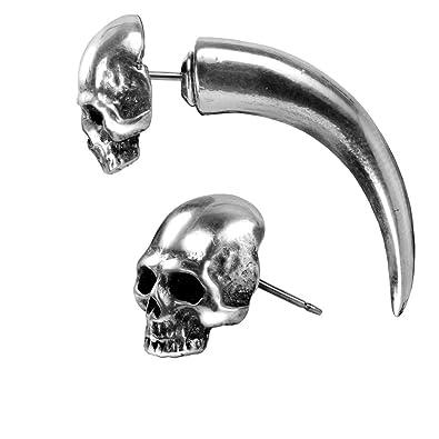 Alchemy Gothic Tumba Cráneo Hornos Falso Pendientes Camilla Oído: Amazon.es: Joyería