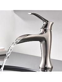 Modern Single Handle Brushed Nickle Stainless Steel Bathroom Vanity Sink  Faucet, Bathroom Faucets Brushed Nickle