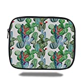 Laptop Sleeve Case,Cactus Decor,Different Cactus Types Watercolors Style Display Spring Field Foliage Artwork,Multicolor,iPad Bag