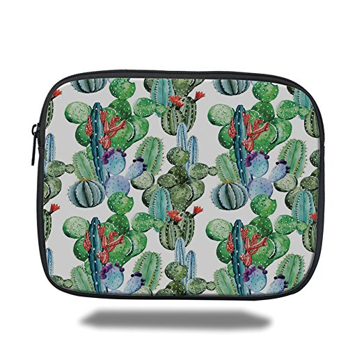 Laptop Sleeve Case,Cactus Decor,Different Cactus Types Watercolors Style Display Spring Field Foliage Artwork,Multicolor,iPad Bag by iPrint