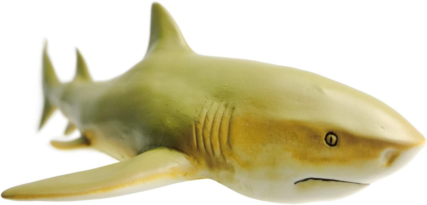 Gemini&Genius Sea Life Great White Shark Action Figure Megalodon Shark Model Toy Soft Rubber Realistic Ocean Shark Educational and Role Play Toys for Kids and Collectors (Lemon Shark)