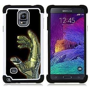 BullDog Case - FOR/Samsung Galaxy Note 4 SM-N910 N910 / - / FUTURISM ART HAND ROBOT TECHNOLOGY AI /- H??brido Heavy Duty caja del tel??fono protector din??mico - silicona suave