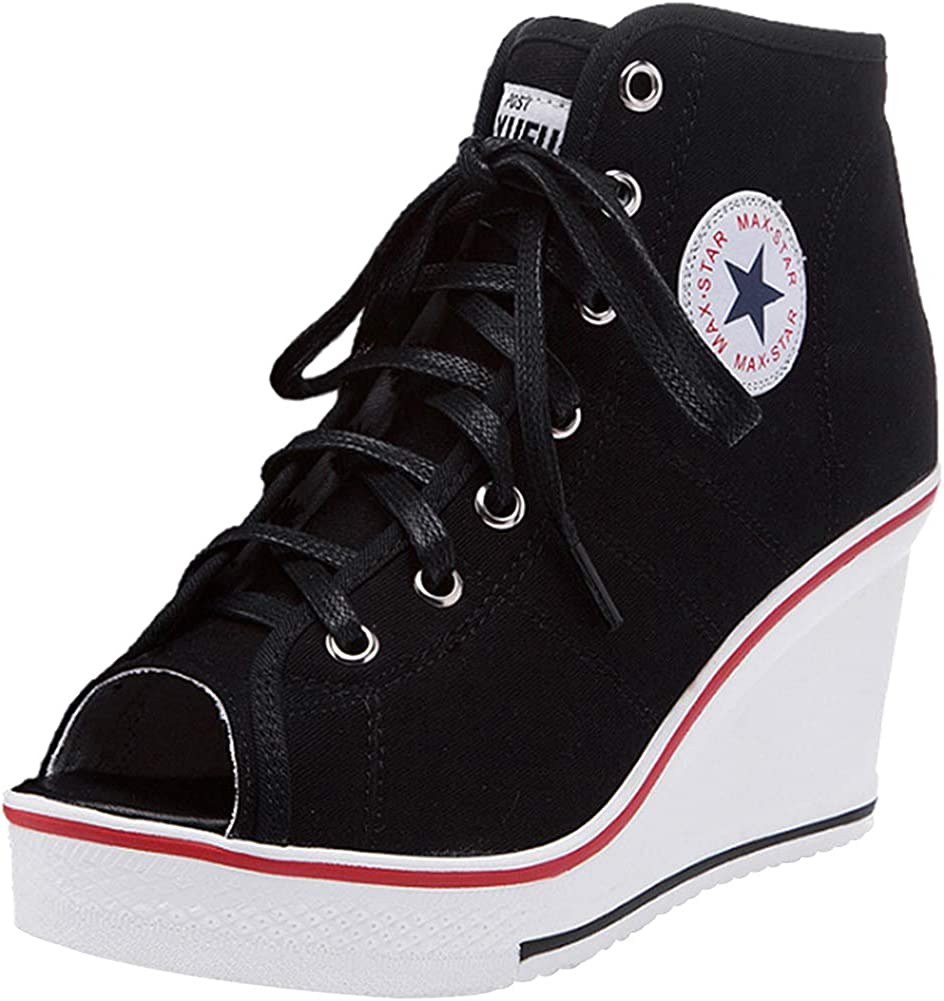 sekesin Women Canvas Shoes Wedge Heel