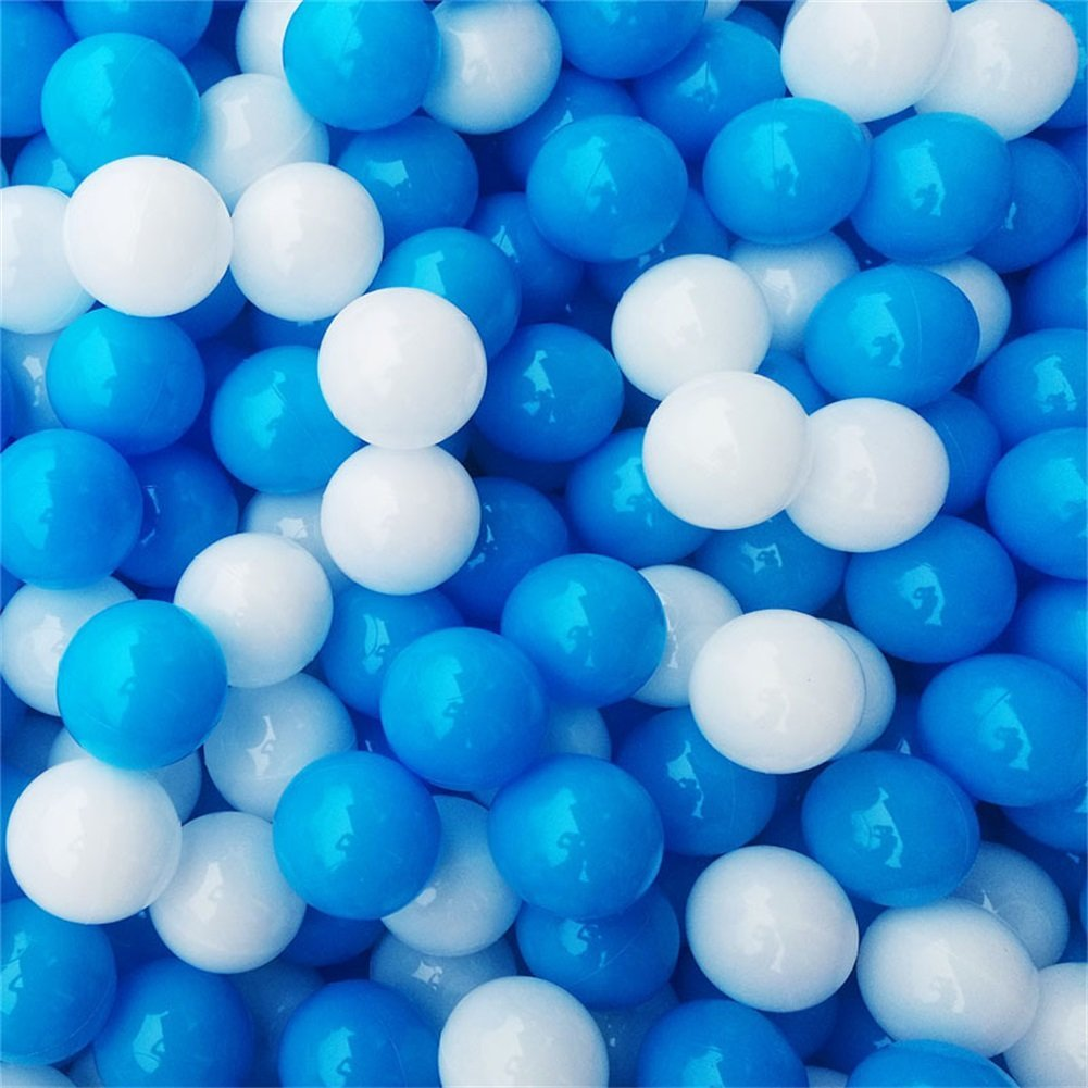 mofeng 100個ブルーとホワイトソフトプラスチック海洋ボールベビー子供ペットSwim Pit Toy水プールOcean Wave再生ボール 5.5cm HK0141 5.5cm  B07FX32STH