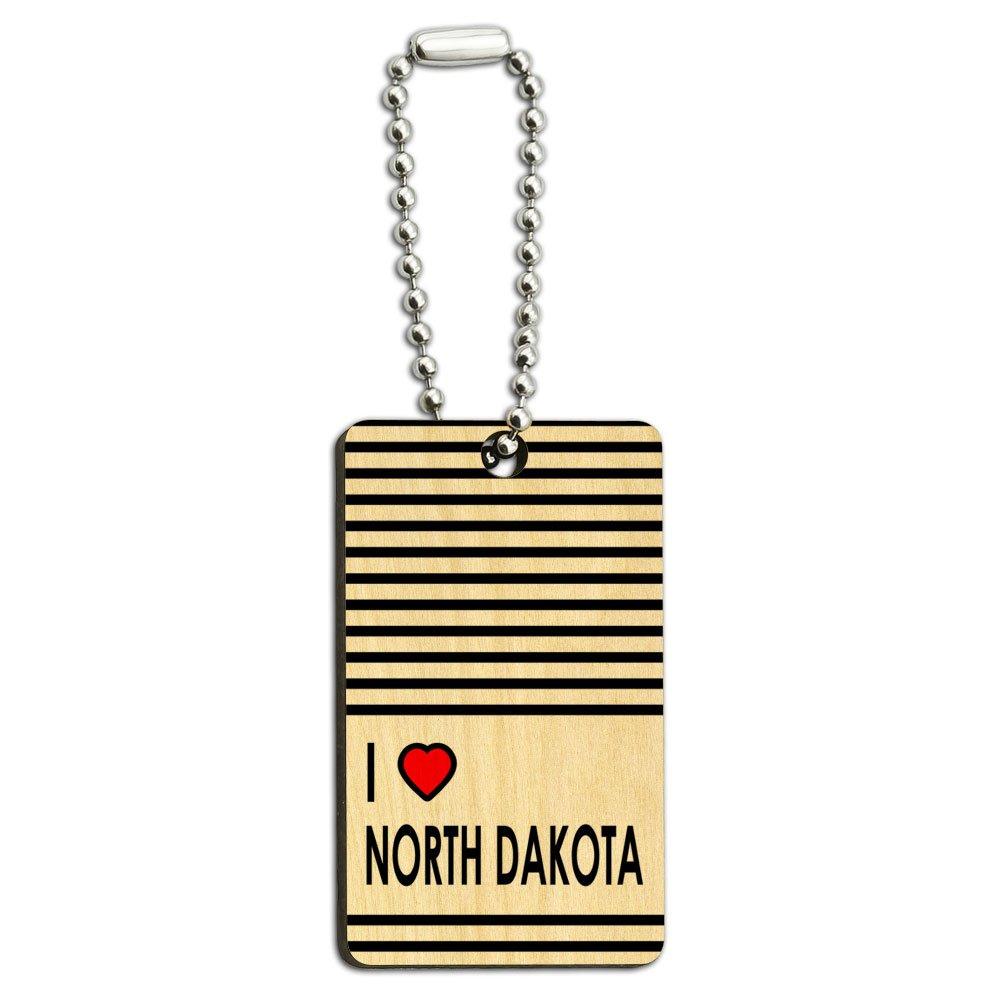 I Love Heart North Dakota Wood Wooden Rectangle Key Chain