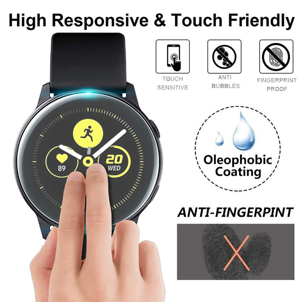 (2Pack) Tuscom Compatible Samsung Galaxy Watch Active 40mm Screen Protector, Explosion-Proof Anti Bubble TPU Screen Protector Gurad Film for Samsung Galaxy Watch Active (2Pack) by Tuscom@ (Image #3)
