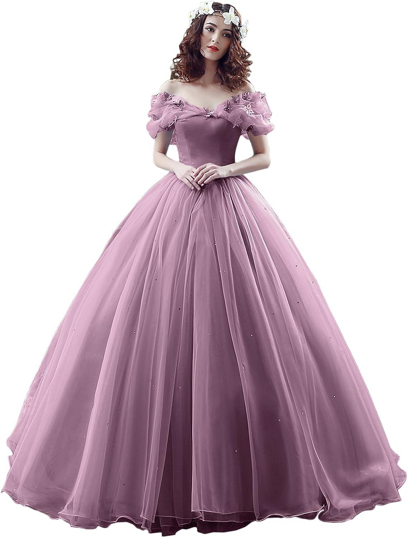 Victory Bridal Wunderschoen Blaues Kurzarm Abendleider Quincenera  Ballkleider Lang Promkleider Cinderella