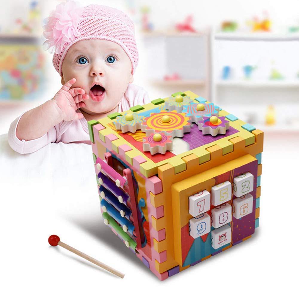 PinPle 木製アクティビティキューブ 6イン1 おもちゃ 赤ちゃん 木琴型ソーター 1~4歳 男の子 女の子 タングラム ギア 迷路 数字ゲーム 子供 幼児 ギフト   B07L9YKB2Y