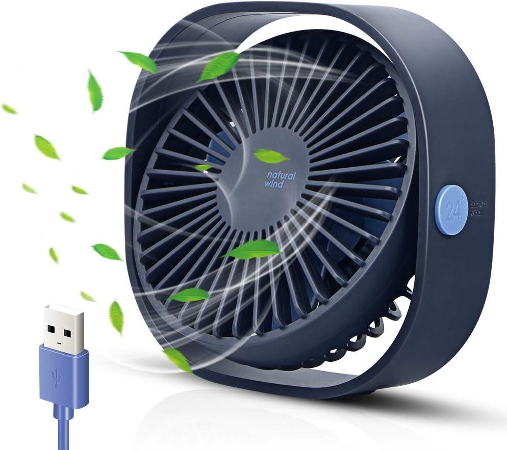 opamoo Ventilador USB Mini Ventilador de Mesa Rotación 360º 3 ...