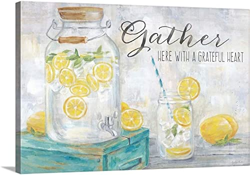 Gather Here Country Lemons Landscape Canvas Wall Art Print