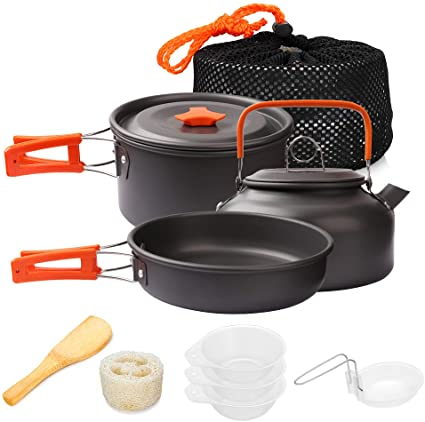 Dilwe Cookware Set Lightweight Handle Stainless Steel Pot Set Equipment 4 Pieces Cookset for Hiking Outdoors