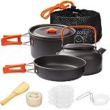 Gutsdoor Camping Cookware Set 4 Person Camping Gear Campfire Utensils Non-Stick Cooking Equipment Lightweight Stackable Pot P