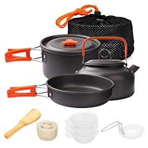 Gutsdoor Camping Cookware Set 2 Person Camping Gear Campfire Utensils Non-Stick Cooking Equipment Lightweight Stackable Pot Pan Bowls with Storage Bag for Outdoor Hiking (8 Piece/Set)