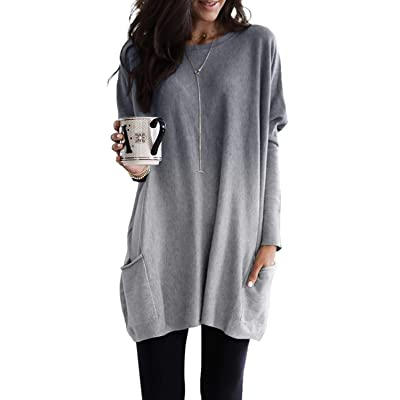 Lovezesent Womens Tie Dye Print Long Sleeve Pocket Pullover Sweatshirt Dress at Women's Clothing store