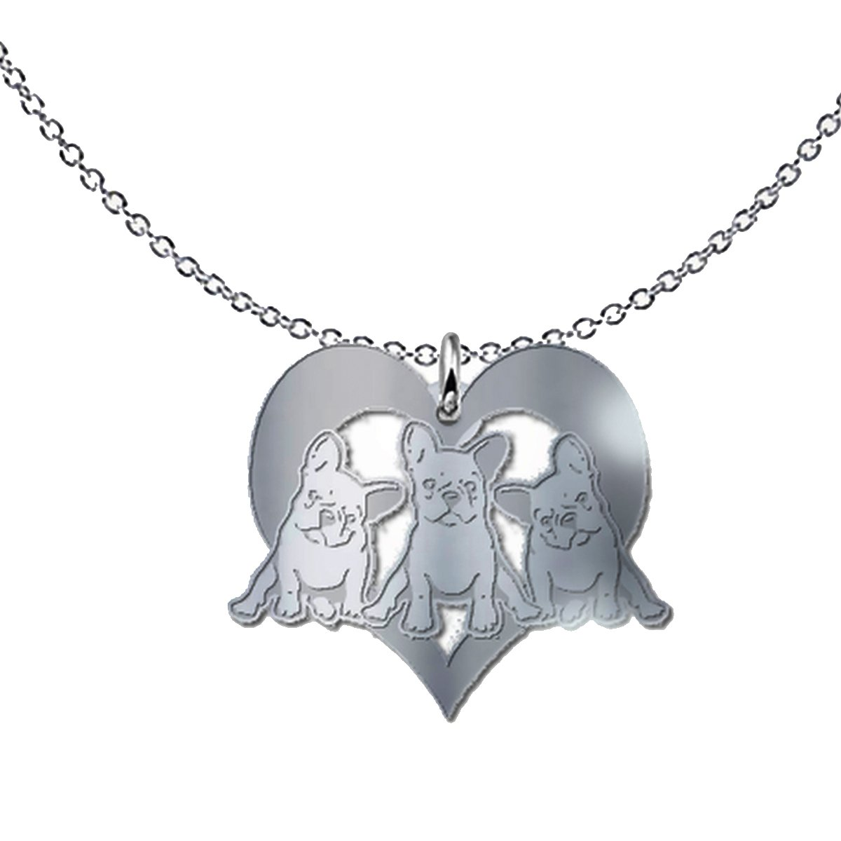 French Bulldog Lovers Freeform Pendant Necklace - Cute Pet Puppies Gift - .925 Solid Sterling Silver