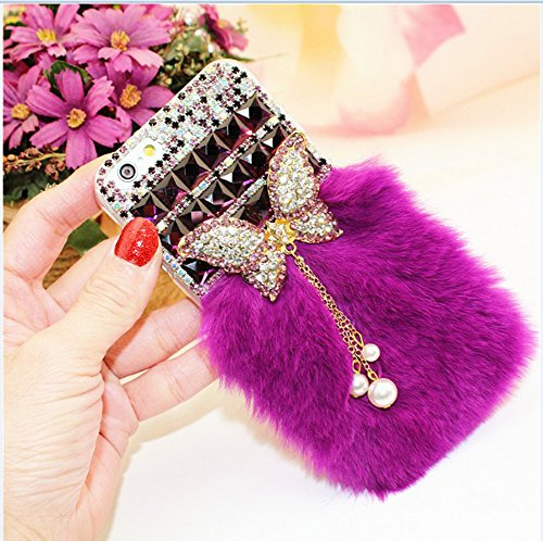 iphone 4 Case, LU2000 3D Crystals [Pendant Series] Diamond Jeweled [Purple Fur] Fluffy [Monarch Butterfly Series] Bling Phone Case Back Cover for Iphone 4 or 4s All Carriers (Jeweled Iphone 4 Case)