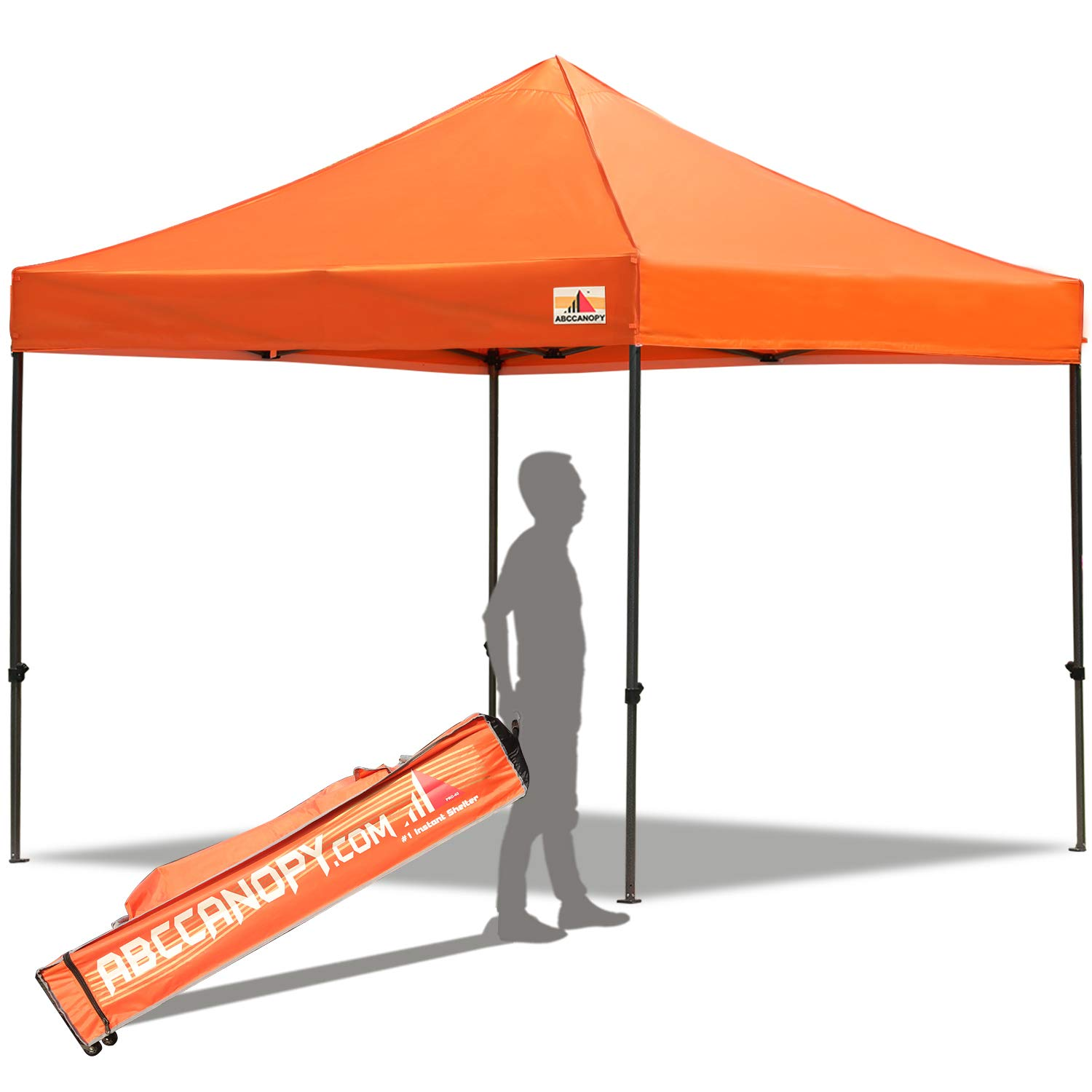 ABCCANOPY Pop up Canopy Tent Commercial Instant Shelter with Wheeled Carry Bag, 10x10 FT Orange