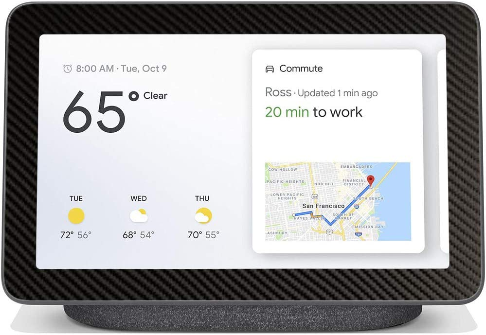 """BocaDecals Skin for Google Nest Hub 7""""   Protective, Durable, and Unique Vinyl Decal Wrap Cover   Made in The USA (Black Carbon Fiber)"""