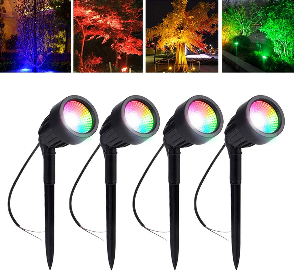 LED Outdoor Spotlights, 4Pack 3W RGB Automatic Color Changing Led Landscape Lights, Waterproof IP66 Garden Spike Lights, Outside Spot Light for Christmas Decorative for Garden Yard Pathway Patio Lawn