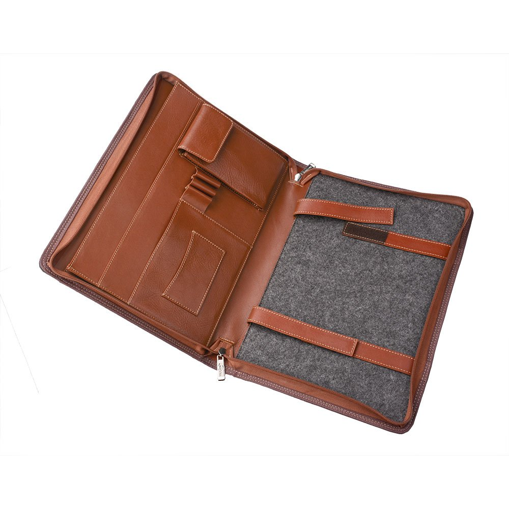 Wool Felt Leather Organizer Portfolio for 13.5 inch Surface Book and Your Cellphone,Brown by XIAOZHI (Image #2)